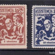 Sellos: ASSITENCIA SOCIAL CERDANYOLA. 2 VALORES. Lote 202635936