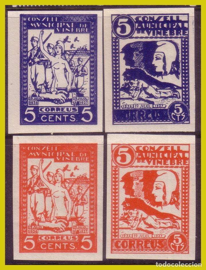 GUERRA CIVIL, SELLOS LOCALES TARRAGONA, VINEBRE, FESOFI Nº 9S A 12S * * (Sellos - España - Guerra Civil - Locales - Nuevos)