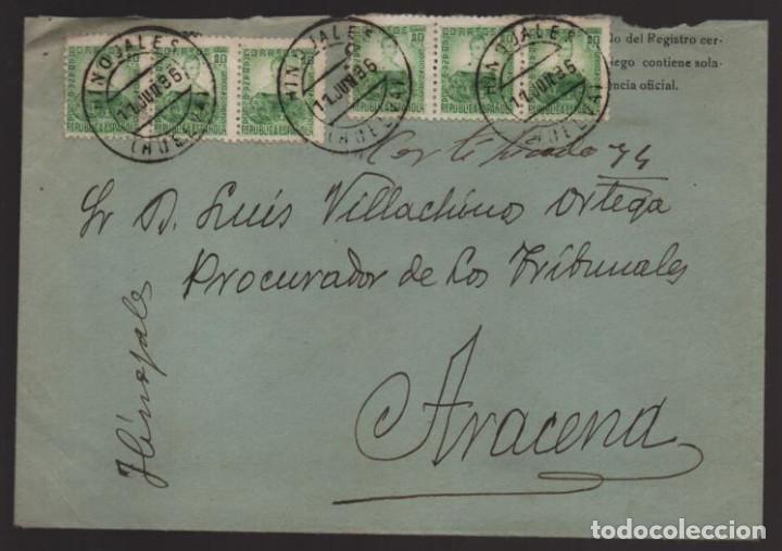 HINOJALES A ARACENA.-HUELVA- REVERSO: AMB.ZAFRA- VER FOTOS (Sellos - España - Guerra Civil - Locales - Cartas)