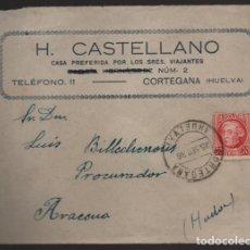 Sellos: CORTEGANA A ARACENA.- HUELVA- HOTEL CASTELLANO- VER FOTOS. Lote 203015447