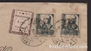 ENCINASOLA A ARACENA- SELLO BENEFICENCIA 5 CTS.SOBRE CARTA CIRCULADA, VER FOTOS (Sellos - España - Guerra Civil - Locales - Cartas)