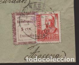 ENCINASOLA A ARACENA- SELLO BENEFICENCIA 5 CTS.SOBRE CARTA CIRCULADA,-RRR- C.M. CORTEGANA-VER FOTOS (Sellos - España - Guerra Civil - Locales - Cartas)