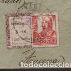 Sellos: ENCINASOLA A ARACENA- SELLO BENEFICENCIA 5 CTS.SOBRE CARTA CIRCULADA,-RRR- C.M. CORTEGANA-VER FOTOS. Lote 203017098