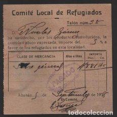 Sellos: ABARAN-MURCIA- RECIBO DEL COMITE LOCAL DE REFUGIADOS- VER FOTO. Lote 203079237