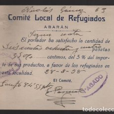 Sellos: ABARAN-MURCIA- RECIBO DEL COMITE LOCAL DE REFUGIADOS- VER FOTO. Lote 203079297