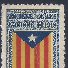 Sellos: VIÑETA CATALANISTA INDEPENDENTISTA. SOCIETAT DE LES NACIONS 1919. CATALUNYA LLIURE. LUJO. MNH **. Lote 203106555