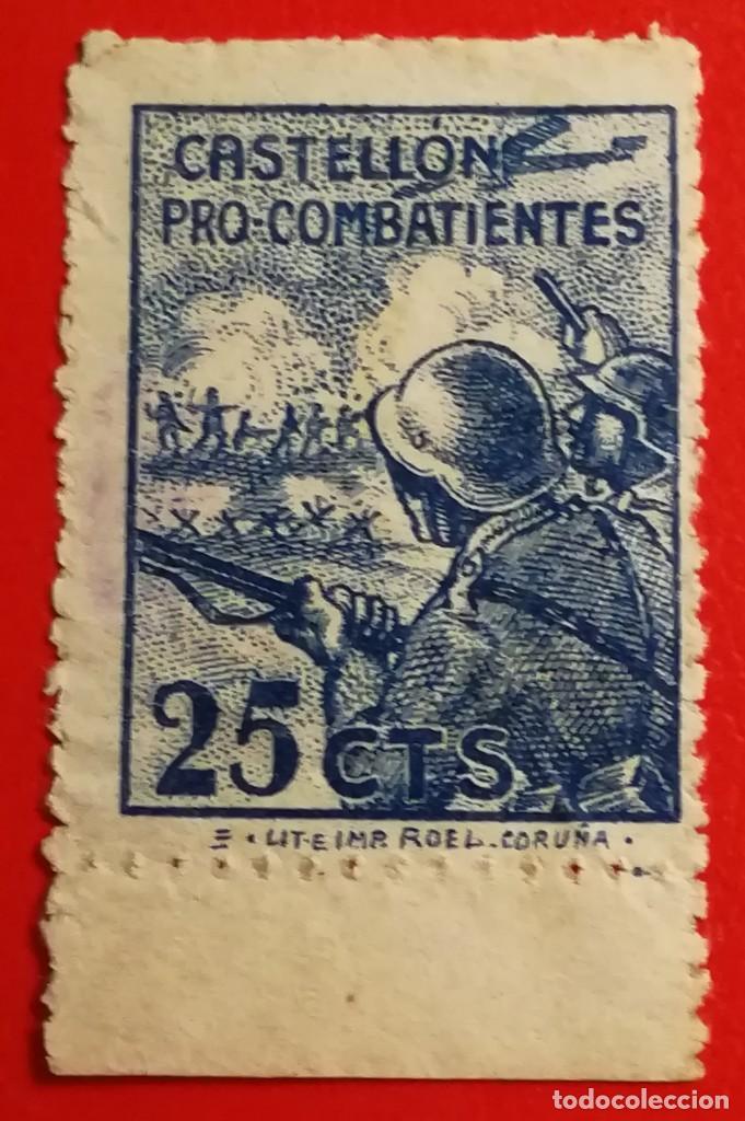 SELLO PRO-COMBATIENTES CASTELLON, 25 CTS (Sellos - España - Guerra Civil - Locales - Nuevos)