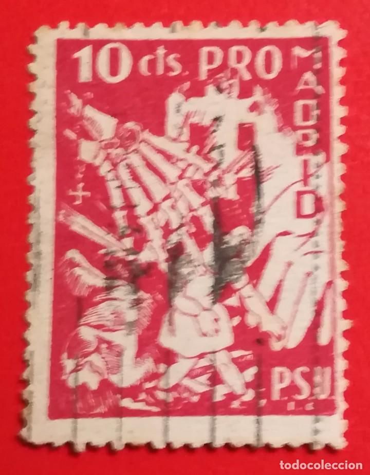 SELLO PRO-MADRID, PSU 10 CTS (Sellos - España - Guerra Civil - Beneficencia)