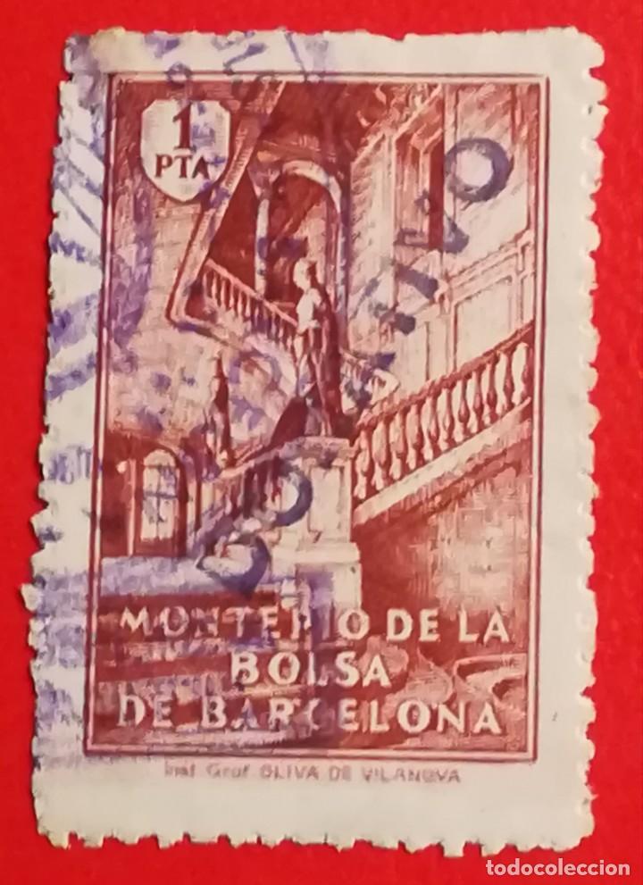 SELLO MONTEPIO DE LA BOLSA DE BARCELONA, 1 PTA (Sellos - España - Guerra Civil - Locales - Usados)