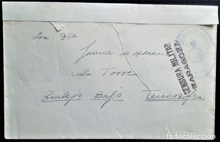 GUERRA CIVIL ARTILLERÍA PLANA MAYOR ZARAGOZA TENERIFE CANARIAS ARAGÓN CENSURA MILITAR (Sellos - España - Guerra Civil - De 1.936 a 1.939 - Cartas)