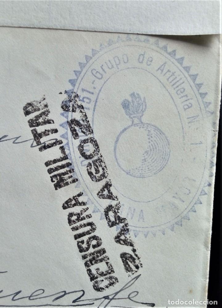Sellos: GUERRA CIVIL ARTILLERÍA PLANA MAYOR ZARAGOZA TENERIFE CANARIAS ARAGÓN CENSURA MILITAR - Foto 2 - 203501145