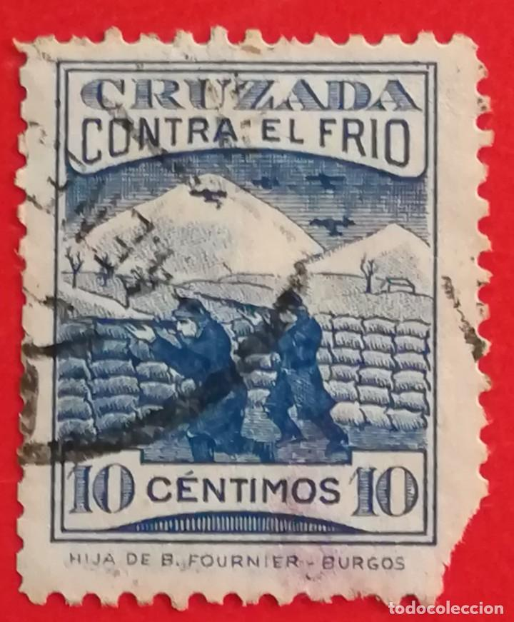 SELLO CRUZADA CONTRA EL FRIO, 10 CENTIMOS (Sellos - España - Guerra Civil - De 1.936 a 1.939 - Usados)