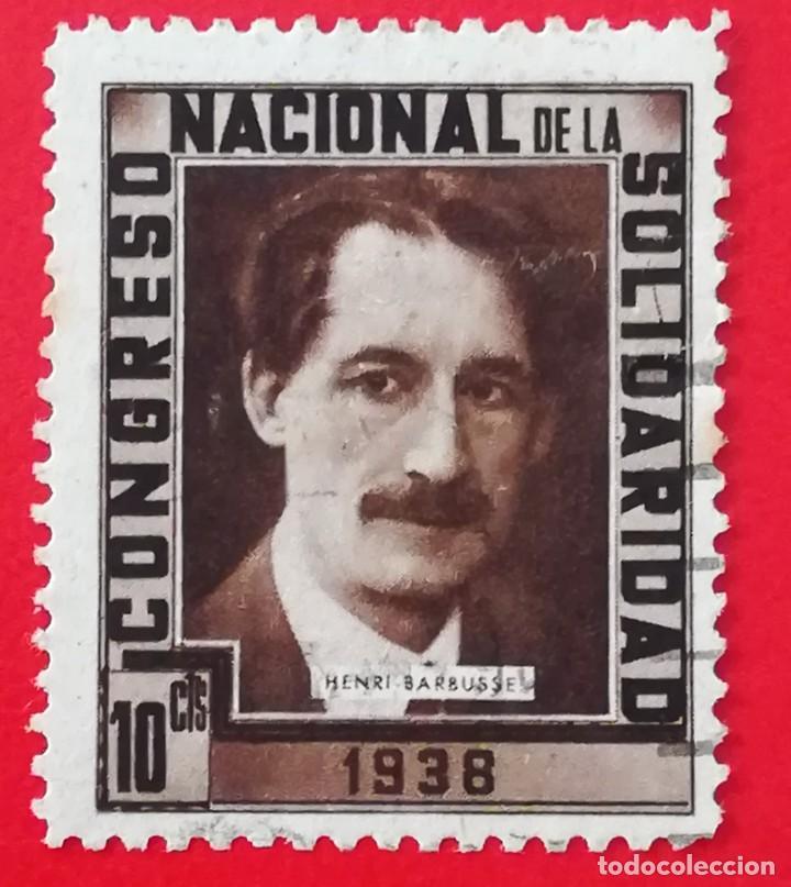 SELLO CONGRESO NACIONAL DE LA SOLIDARIDAD 1938 HENRI BARBUSSE, 10 CTS (Sellos - España - Guerra Civil - De 1.936 a 1.939 - Nuevos)