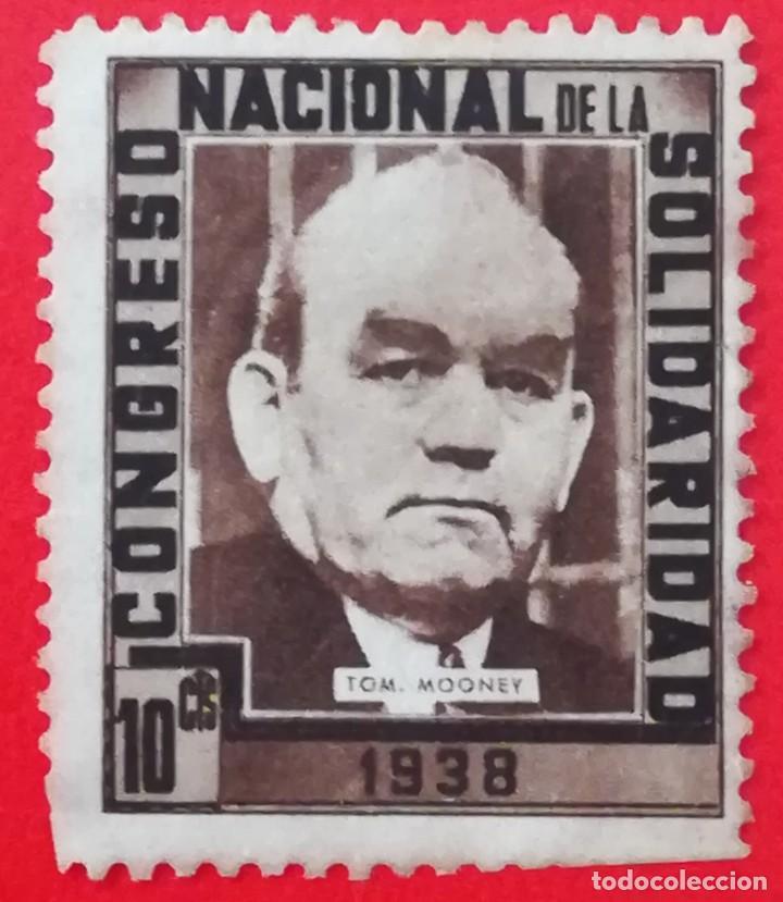 SELLO CONGRESO NACIONAL DE LA SOLIDARIDAD 1938 TOM MOONEY, 10 CTS (Sellos - España - Guerra Civil - De 1.936 a 1.939 - Usados)