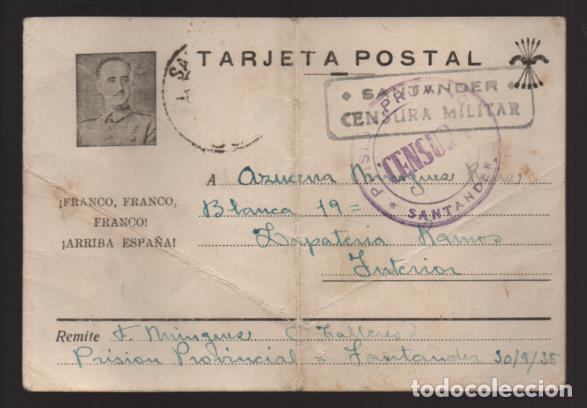 SANTANDER- POSTAL PRISION PROVINCIAL DE SANTANDER- CON C.M. Y DE PRISION DE SANTANDER- VER FOTOS (Sellos - España - Guerra Civil - Locales - Cartas)