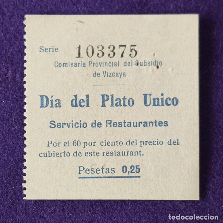 VIÑETA VALE DIA DEL PLATO UNICO. 0,25 PTS. SUBSIDIO DE VIZCAYA. GUERRA CIVIL. SELLO (Sellos - España - Guerra Civil - Beneficencia)