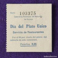 Sellos: VIÑETA VALE DIA DEL PLATO UNICO. 0,25 PTS. SUBSIDIO DE VIZCAYA. GUERRA CIVIL. SELLO. Lote 203902277