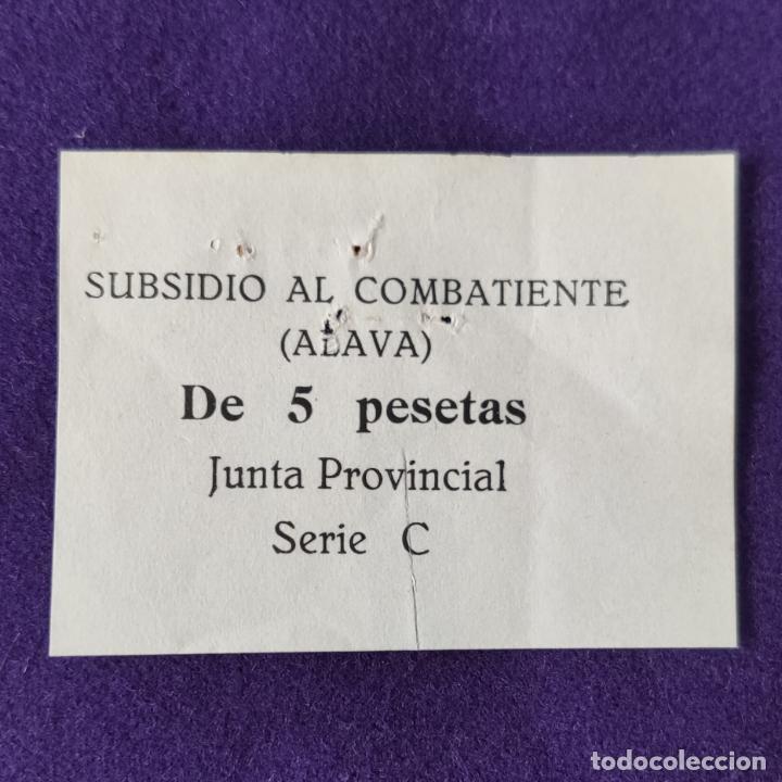 VIÑETA SUBSIDIO AL COMBATIENTE (ALAVA). 5 PESETAS. JUNTA PROVINCIAL. SERIE C. MUY RARO. SELLO. VALE. (Sellos - España - Guerra Civil - Beneficencia)