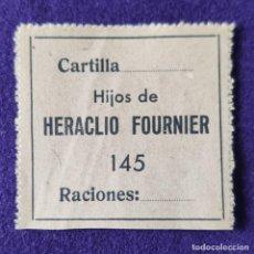 Sellos: VIÑETA VALE HIJOS DE HERACLIO FOURNIER. CARTILLA. RACIONES. AÑOS 30-40.. Lote 204117977