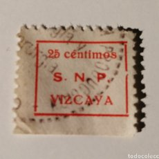 Sellos: VIZCAYA. SINDICATO NACIONAL PRODUCTORES. 25 CÉNTIMOS. Lote 204373003