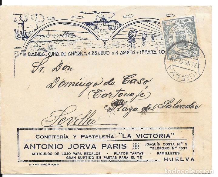 TEMA COLON. BANDO NACIONAL. ANDALUCIA. SOBRE CIRCULADO DE HUELVA A SEVILLA. 1937 (Sellos - España - Guerra Civil - De 1.936 a 1.939 - Cartas)
