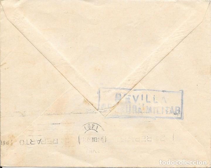 Sellos: TEMA COLON. BANDO NACIONAL. ANDALUCIA. SOBRE CIRCULADO DE HUELVA A SEVILLA. 1937 - Foto 2 - 204430550