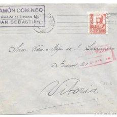 Francobolli: CRUZADA CONTRA EL FRIO. PAIS VASCO. SOBRE CIRCULADO DE SAN SEBASTIAN A VITORIA. 1938. Lote 204433047