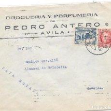 Sellos: CRUZADA CONTRA EL FRIO. CASTILLA. SOBRE CIRCULADO DE AVILA A SEVILLA. 1936. Lote 204434040