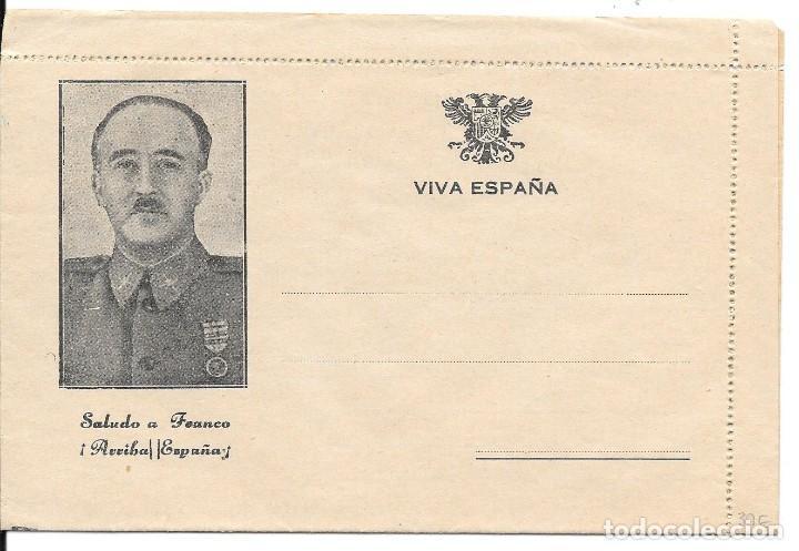 GUERRA CIVIL. SOBRE ILUSTRADO GENERAL FRANCO, MONUMENTOS Y MAPA DE ESPAÑA SIN CIRCULAR (Sellos - España - Guerra Civil - De 1.936 a 1.939 - Cartas)