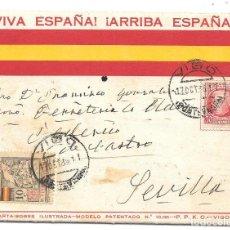 Sellos: GUERRA CIVIL. SOBRE PATRIOTICO ILUSTRADO CIRCULADO DE VIGO A SEVILLA. 17-OCT-1936. Lote 204436316