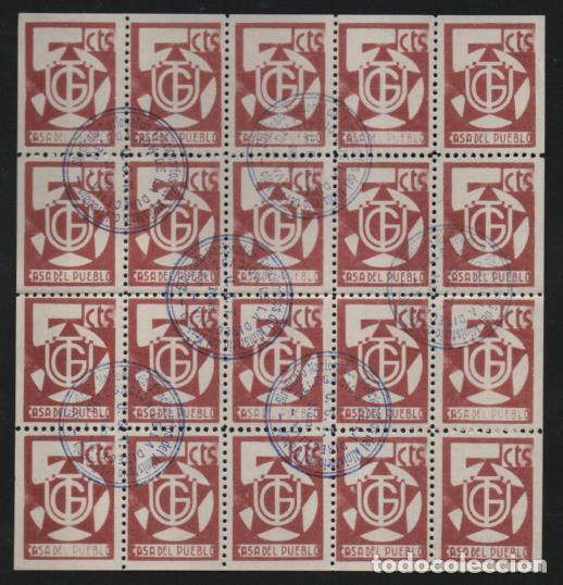 U.G.T. HOJA COMPLETA. VARIEDADES -CASA DEL PUEBLO- 7 SELLOS SEMIBORRADO. VER FOTOS (Sellos - España - Guerra Civil - Viñetas - Usados)