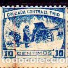 Sellos: ESPAÑA. CRUZADA CONTRA EL FRÍO. 10 CÉNTIMOS AZUL, EN NUEVO CON SEÑAL DE FIJASELLOS. Lote 204508870