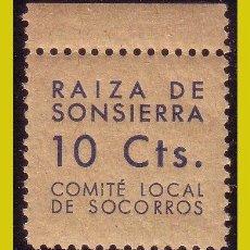 Sellos: GUERRA CIVIL, NO CATALOGADO, !0 CTS. AZUL * * COMITÉ LOCAL DE SOCORROS RAIZA DE SONSIERRA, LA RIOJA. Lote 204703068