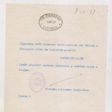 Sellos: TELÉGRAFOS. VITORIA. PAÍS VASCO. 1937. FERROCARRIL. CASTRO URDIALES. CANTABRIA. Lote 204838726