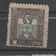 Sellos: 0227 GUERRA CIVIL - FRENTE DE JUVENTUDES - 1 PTA. - VERDE Y CASTAÑO LA DE LA FOTO. Lote 204840850