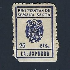 Sellos: F3-5 VIÑETA PUBLICITRIA CALASPARRA PRO FIESTAS DE SEMANA SANTA VALOR 25 CTS. COLOR AZUL MARINO FALT. Lote 205044485
