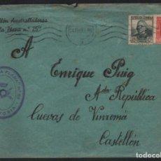 Sellos: CARTA DEL BATALLON AMETRALLADORA -LA PLANA Nº 25 A CUEVAS DE VINAROZ - CASTELLON- VER FOTOS. Lote 205064610