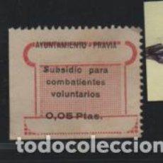 Sellos: PRAVIA-ASTURIAS- 0,05 PTAS-VARIEDAD- SUBSIDIO PARA COMBATIENTES VOLUNTARIOS- REVERSO-CALCADO-. Lote 205066100