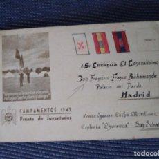 Sellos: POSTAL PATRIÓTICA CAMPAMENTO 1943. FRENTE DE JUVENTUDES. ENVIADA A FRANCO AL PARDO. SAN SEBASTIÁN.. Lote 205126857