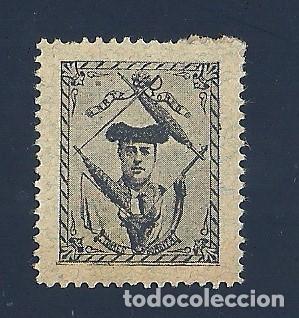 VN2-41-2 VIÑETA DE FINALES AÑOS 1890S DEL TORERO EMILIO TORRES (BOMBITA) COLOR NEGRO S. PAPEL GRIS (Sellos - España - Guerra Civil - Viñetas - Nuevos)