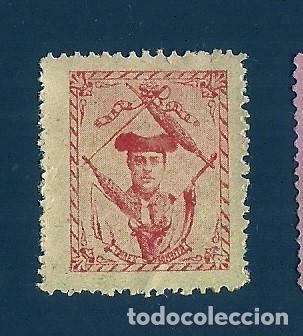 VN2-41-17 VIÑETA DE FINALES AÑOS 1890S DEL TORERO EMILIO TORRES (BOMBITA) COLOR ROJO S. PAPEL AMA (Sellos - España - Guerra Civil - Viñetas - Nuevos)