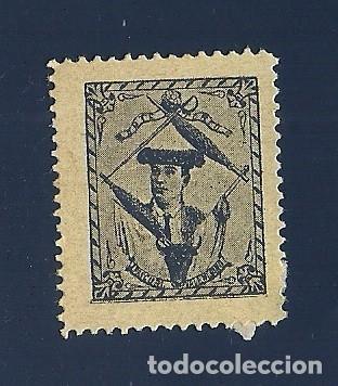 VN2-42-15 VIÑETA DE FINALES AÑOS 1890S DEL TORERO PASCUAL VALENCIANO COLOR NEGRO S. PAPEL AMARILL (Sellos - España - Guerra Civil - Viñetas - Nuevos)