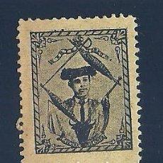 Sellos: VN2-43-3 VIÑETA DE FINALES AÑOS 1890S DEL TORERO GUERRA GUERRITA COLOR NEGROS. PAPEL SIENA. Lote 205231963