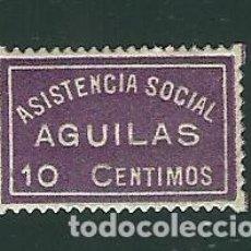 Sellos: V1-1 GUERRA CIVIL AGUILES (MURCIA) ASISTENCIA SOCIAL FESOFI Nº 2 COLOR VIOLETA SIN FIJASELLOS. Lote 205240188