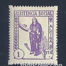 Sellos: V1-1 GUERRA CIVIL ALCIRA (VALENCIA) ASISTENCIA SOCIAL FESOFI Nº 4 VALOR 1 PTAS. VARIEDAD COLOR MALVA. Lote 205263587