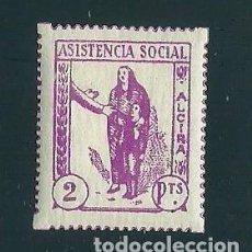 Sellos: V1-1 GUERRA CIVIL ALCIRA (VALENCIA) ASISTENCIA SOCIAL FESOFI Nº 8 VALOR 2 PTAS. COLOR LILA FIJASELLO. Lote 205264065