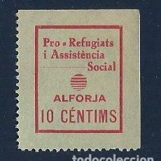 Sellos: V1-1 GUERRA CIVIL ALFORJA (TARRAGONA) FESOFI Nº 4 VALOR 10 CTS. COLOR ROJO S. VERDE BRILLANTE FIJASE. Lote 205307151