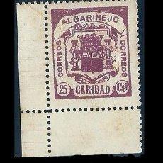 Sellos: V1-1 GUERRA CIVIL ALGARINEJO(GRANADA) CARIDAD FESOFI Nº 3 PAPEL BLANCO VALOR 25 CTS COLOR CASTAÑO M. Lote 205311117