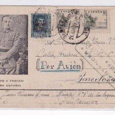 Sellos: SANTANDER. CENSURA HOSPITAL SAGRADOS CORAZONES. CORREO AEREO 21/4/1939. Lote 205320406