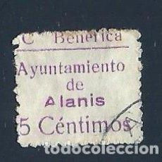 Sellos: V1-1-9 GUERRA CIVIL ALANIS (SEVILLA) FESOFI Nº 1 VALOR 5 CTS COLOR VIOLETA USADO. Lote 205341215
